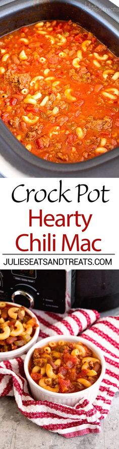 Crock Pot Hearty Chili Mac Recipe ~ Delicious Chili Slow Cooked All Day Long and Then Finished Off with Pasta! Hearty, Comforting Meal for Dinner!: