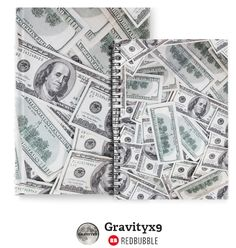 Notebook and Journal - Money spread of hundred dollar bills.It's all about the Benjamin's! Redbubble by #Gravityx9