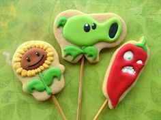 Plants vs Zombies, cookies, biscoitos decorados | by Cookie Design