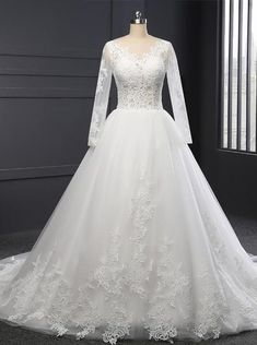 Formal Wedding Dresses,Lace Wedding Dress with Sleeves,Classic Bridal Gown,Ball Gown Wedding Gown How To Dress For A Wedding, Lace Wedding Dress With Sleeves, Classic Wedding Dress, Long Sleeve Wedding, Perfect Wedding Dress, Cheap Wedding Dress, Wedding Gowns, Formal Wedding, Ivory Wedding