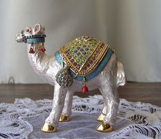 Camel Jewelry Box Alpaca White Enamel Bejeweled Swarovski Crystals Camel Box