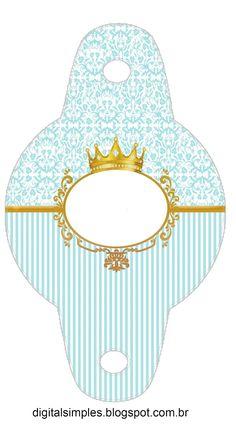 "Kit Personalizado Tema ""Coroa Azul Menino"" para Imprimir - Convites Digitais…"