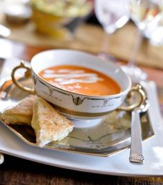 Cream of Tomato Soup with Grilled Cheese Sandwiches