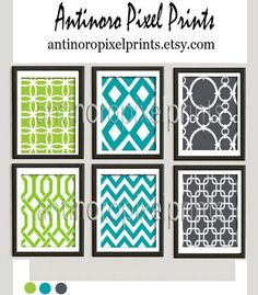 Damask Digital illustration Wall Art Set (lime green, turquoise, gray) by antinoropixelprints