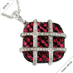 Women's Diamond & Ruby Necklace in 14K White Gold (1.55 ctw)