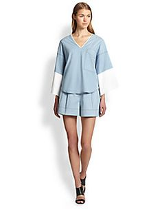 3.1 Phillip Lim - Oversized Wide-Sleeved Chambray Tee