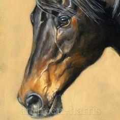 Bay Horse Original Acrylic by andreenharrisart