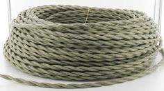 Gray Cotton Cloth-Covered Twisted Electrical Wire - 18 Gauge - Bulk Roll - Vintage Wire & Supply