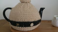 Natural Beige / Charcoal Grey hand knitted tea cosy by DottyKnits