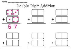 Double Digit Addition math station that you can just print and go and use over and over!