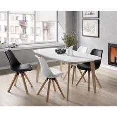 NAISS Table à manger extensible de 6 à 8 personnes scandinave pieds bouleau massif + plateau mélaminé blanc - L 160 à 200 x l 90 cm