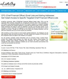 Get only deliverable and active contact details with CFO Email List. http://www.elistsorg.com/cfo-email-lists.php