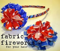SewSara: Fabric Fireworks headbands or pens. Fabric Headbands, Cute Headbands, Fabric Bows, Flower Headbands, Diy Flowers, Fabric Flowers, Fourth Of July, 4th Of July Wreath, Sewing Crafts