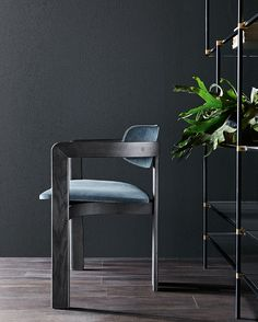 0414, chair with wooden structure, seat and backrest covered by velvet.