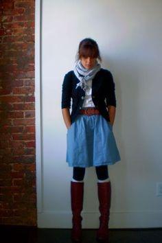 Boots, cardigan, scarf.