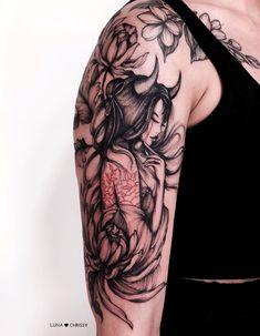 Girl Half Sleeve Tattoos, Unique Half Sleeve Tattoos, Sleeve Tattoos For Women, Girl Tattoos, First Tattoo, I Tattoo, Around Arm Tattoo, Saturn Tattoo, Half Skull