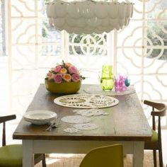 Lace inspired dining room.  Styled by Charis White, photography: Catherine Gratwicke.