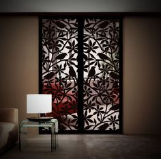 Decorative screens allow light to pass through while providing some separation between spaces. Metal Gates, Metal Screen, Gate Design, House Design, Cnc Cutting Design, Laser Cutting, Gate Decoration, Laser Cut Panels, Interior Architecture