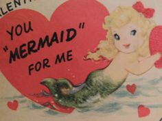 #16 Vintage Valentine Card 1940's Mermaid Red Bow in Hair Flocked Unused & CUTE!