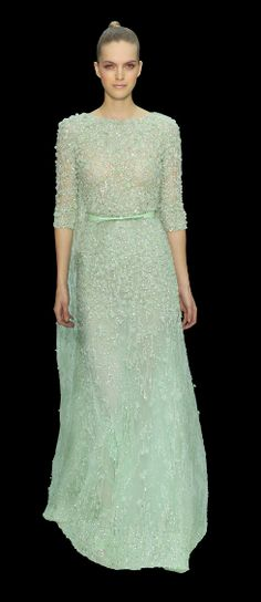 #Elie Saab-Love the Mint Green Gown.  3/4 Sleeves with a High Neck are Elegant