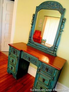 Turquoise paint and brown glaze