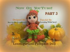 Rainbow Loom Pumpkin Doll basket Part 3 of 3 - Loomigurumi / Amigurumi - Looming WithCheryl (Designed By Jess Davies / @ craftlover17 on Instagram) Want to make something for halloween? :D - Figures, action, Loomigurumi, Amigurumi, crochet, hook only. Looming With Cheryl