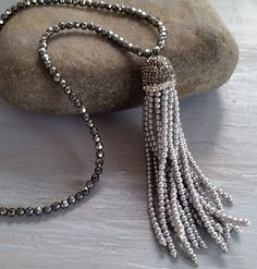 Gray Beaded Tassel Necklace Hematite by Lizzietishboutique on Etsy