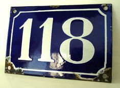 enamel hous, hous number, vintag blue, front doors, white enamel, french houses, modern houses, house numbers, antiques