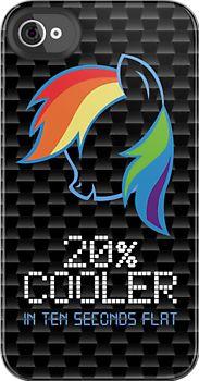 Silhouette portrait of Rainbow Dash. 20% cooler in ten seconds flat. My Little Pony iPhone Case.