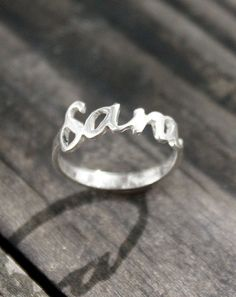 My name on a ring - Sterling Silver, handwritten sterling silver ring, midi ring on Etsy, $54.00
