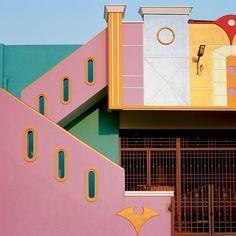 "urbandesigirl: "" darksilenceinsuburbia: "" Indian Houses inspired by Ettore Sottsass. Tirunamavalai, Tamil Nadu Photography by Vincent Leroux "" Indian Houses inspired by Ettore Sottsass "" Indian Architecture, Interior Architecture, Interior And Exterior, Colour Architecture, Minimal Architecture, Museum Architecture, Organic Architecture, Residential Architecture, Exterior Design"