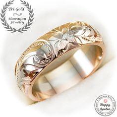14K Tri-Color 6mm Gold Ring Hand Engraved Old English Design