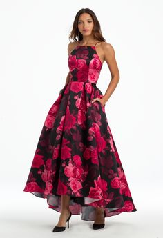 Glam up in this extraordinary evening gown! The lace up back, halter neckline, printed ballgown style, and unique side seam pockets put a fun twist on this homecoming dress. High Low Prom Dresses, Grad Dresses, Satin Dresses, Dance Dresses, Ball Dresses, Homecoming Dresses, Strapless Dress Formal, Ball Gowns, Evening Dresses