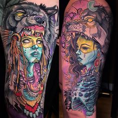 Image may contain: 2 people Circle Tattoos, Body Art Tattoos, Sleeve Tattoos, Owl Tattoos, Tattoo Ink, Fish Tattoos, Wolf Tattoo Design, Tattoo Designs, Birthday Tattoo