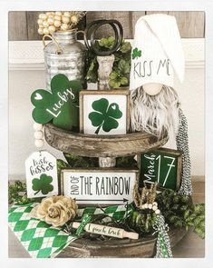 St Patrick's Day Decorations, St Patrick Decorations, Tiered Stand, St Paddys Day, Luck Of The Irish, Tray Decor, Holiday Crafts, Holiday Decor, Holiday Ideas