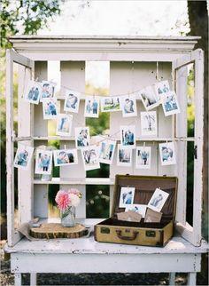 vintage wedding photo display idea