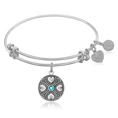 Expandable Bangle in White Tone Brass with Blue Topaz December Symbol