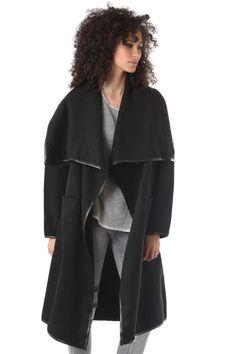 Q2 Black Duster Coat With Wide Notch Lapels