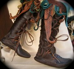 Knee High Owl Forest Boot / Moccasin Hand Stitched Thick Bullhide Upper With A Soft Bison / Buffalo Sole / Hobbit LOTR Game of Thrones LARP