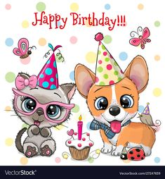 Cute Kitten and Puppy owls with balloon and bonnets. Birthday card with Cute Kitten and Puppy owls with balloon and bonnets stock illustration Happy Birthday Clip Art, Birthday Wishes For Kids, Birthday Cartoon, Birthday Clips, Happy Birthday Images, Happy Birthday Greetings, Animal Birthday, Happy Birthday Puppy, Birthday Month