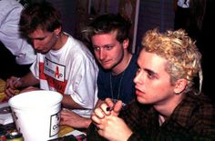 Green Day's Mike Dirnt, Tré Cool and Billie Joe Armstrong meet and greet with fans in New York City on October 3, 1994.