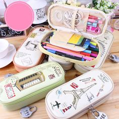 Cute Coded lock Pen Pencil Case Stationary Pouch Bag Makeup Bag