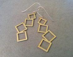 Gold Square Earrings Gold Earrings Dangle Earrings Gold Geometric Earrings Long Earrings Gold Geometric Earrings Gift For Her Triangle Earrings, Square Earrings, Geometric Necklace, Geometric Jewelry, Gold Hoop Earrings, Drop Earrings, Etsy Jewelry, Jewellery, Dangles