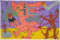 Keith Haring, Untitled, Septembre 1985, Glenstone, acrylique et email sur toile, 304, 8 x 457, 2 cm, Crédit Keith Haring Foundation.