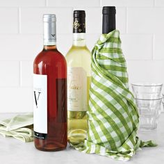 Chill wine in a flash with a linen dishtowel. Wet the towel and then wring it out. Wrap it around the bottle and toss it in the fridge for 30 minutes. Have even less time than that? Toss it in the freezer for 15 minutes.