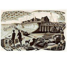 Neil Bousfield 'Promenade' wood engraving 195x120 mm