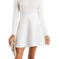 Charlotte Russe Ribbed Skater Skirt ($19) ❤ liked on Polyvore featuring skirts, mini skirts, ivory, flare skirt, short white skirt, circle skirt, skater skirt and flared skirt