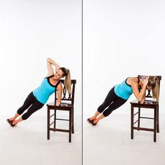 Supported Side Plank Crunch - Abs Workout: Stand Up for a Flat Stomach! - Shape Magazine - Page 6 Squat, Side Plank Crunch, Postural, Chair Exercises, Belly Exercises, Core Exercises, Strength Workout, Workout Abs, Chair Workout
