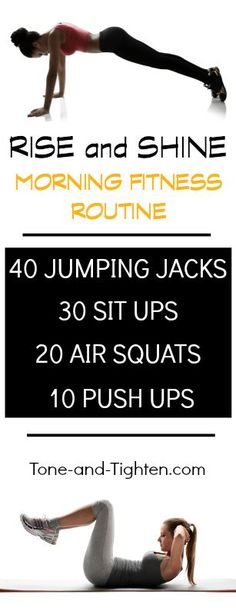 """Just 5-minutes to complete this """"Morning Fitness Routine""""! Gets the heart pumping and the brain going prior to starting the day."""