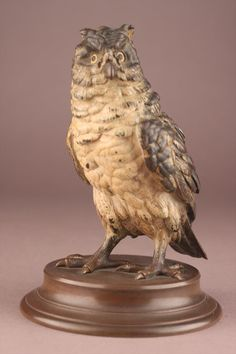 Franz Bergman(Austrian 1861-1936) Cold Painted Bronze Owl
